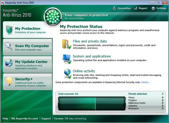 Kaspersky Anti Virus 2010 Main Screen