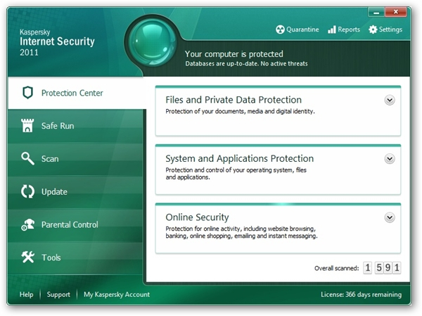Kaspersky Internet Security 2011 Main Screen