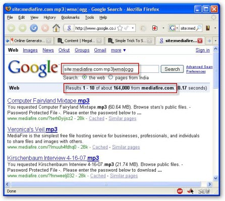 Simple Trick To Search Files On MediaFire Com | Megaleecher Net