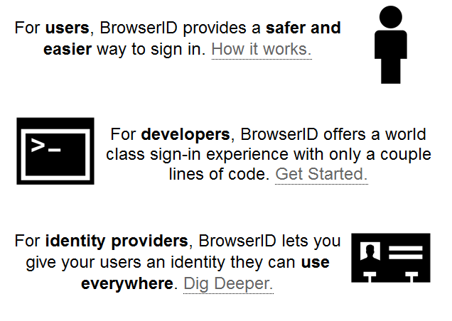 Single Sign-in Mozilla BrowserID Project