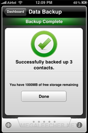 iPhone Data Backup Completed