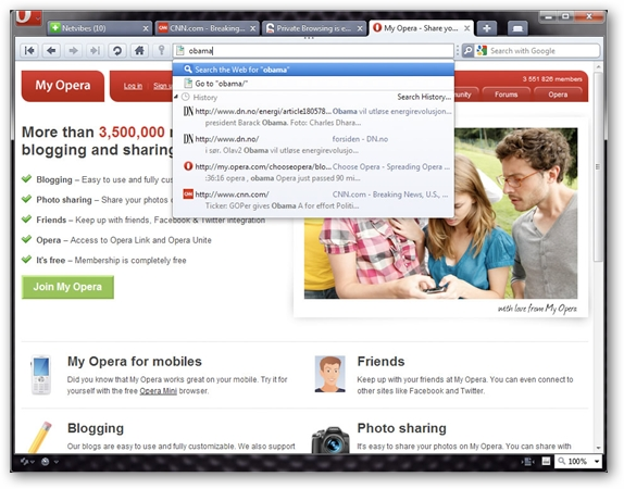 Opera 10.5 Search bar