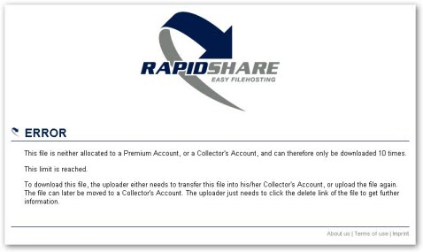 Rapidshare Download Limit