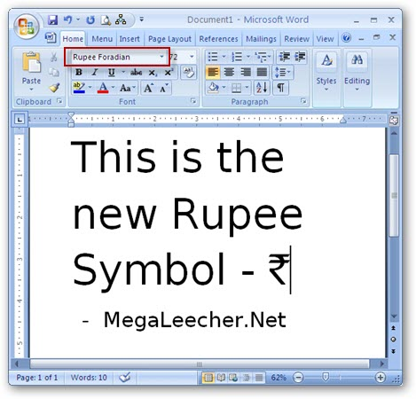 Rupee Symbol In Microsoft Word