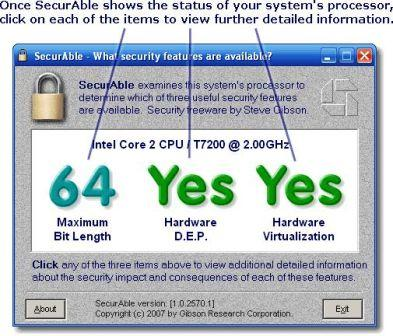 SecurAble Screen Displaying CPU Features