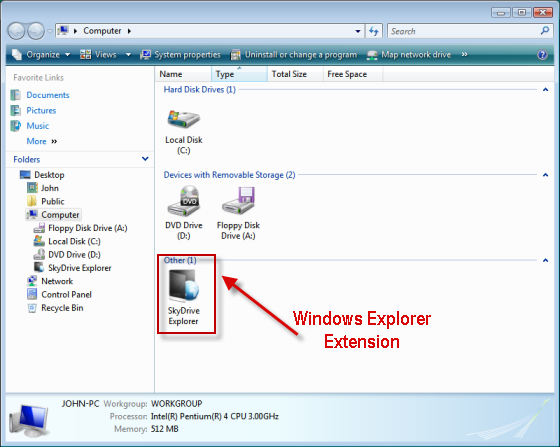 SkyDrive Explorer Extension