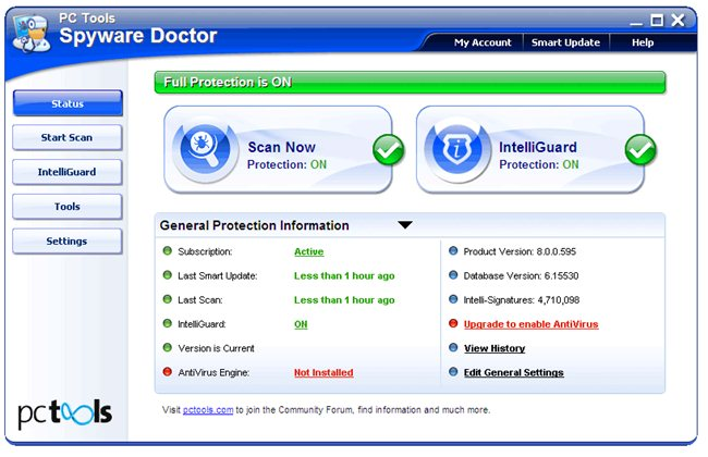 Spyware Doctor 2011 Main Screen