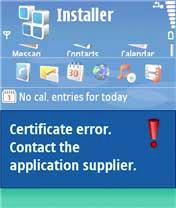 Nokia Certificate Error
