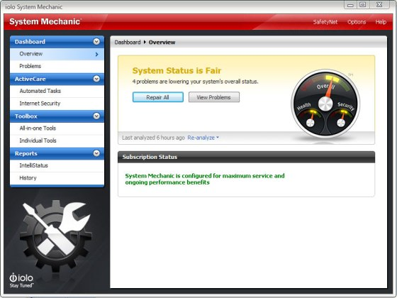 System Mechanic 9 Dashboard