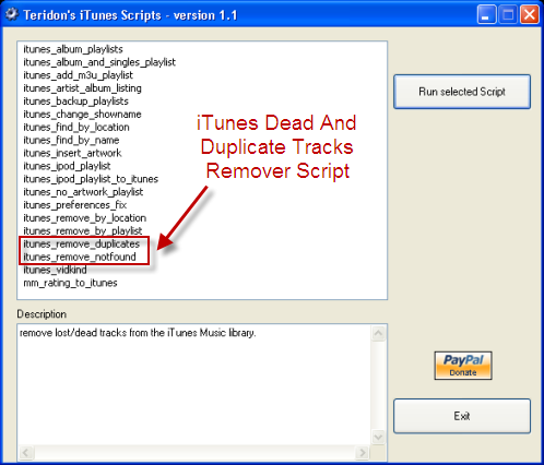 iTunes Duplicate Removal Script For Windows
