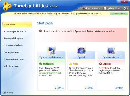 TuneUp Utilities 2009 Main Screen