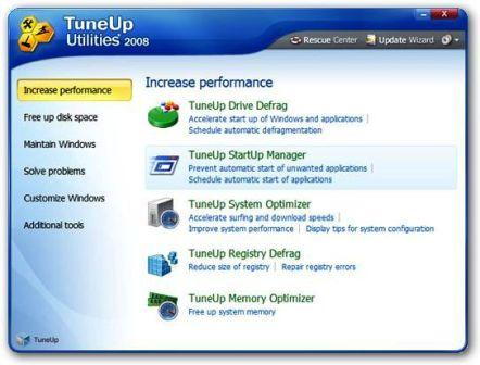 Tuneup Utilities 2008 Main Screen