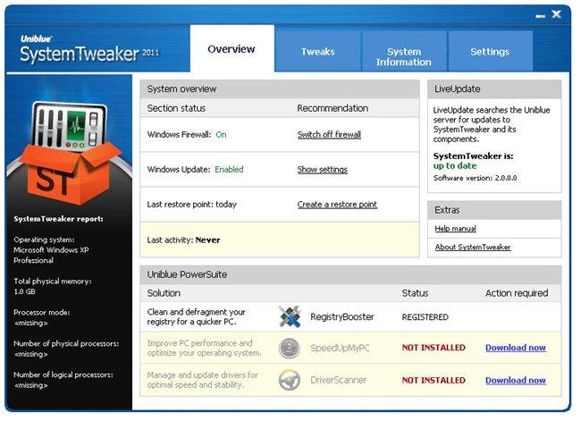 Uniblue SystemTweaker 2011