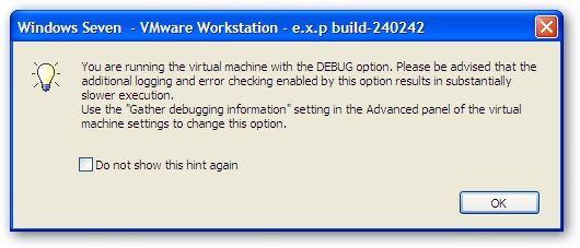VMware Debug Mode Warning