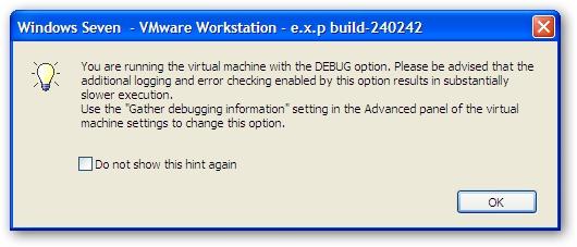 VMware Debug Mode Warning