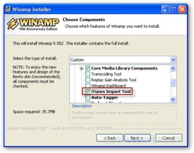Winamp iTunes Import Function