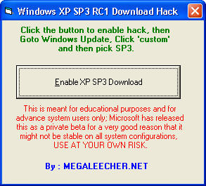 Windows XP SP3 Download Hack