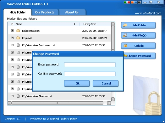 Winmend Hidden Folders Main Interface