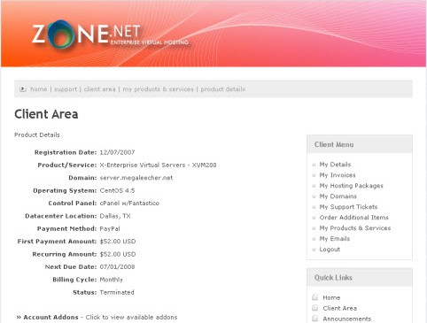 Zone.Net VPS Hosting Control Panel